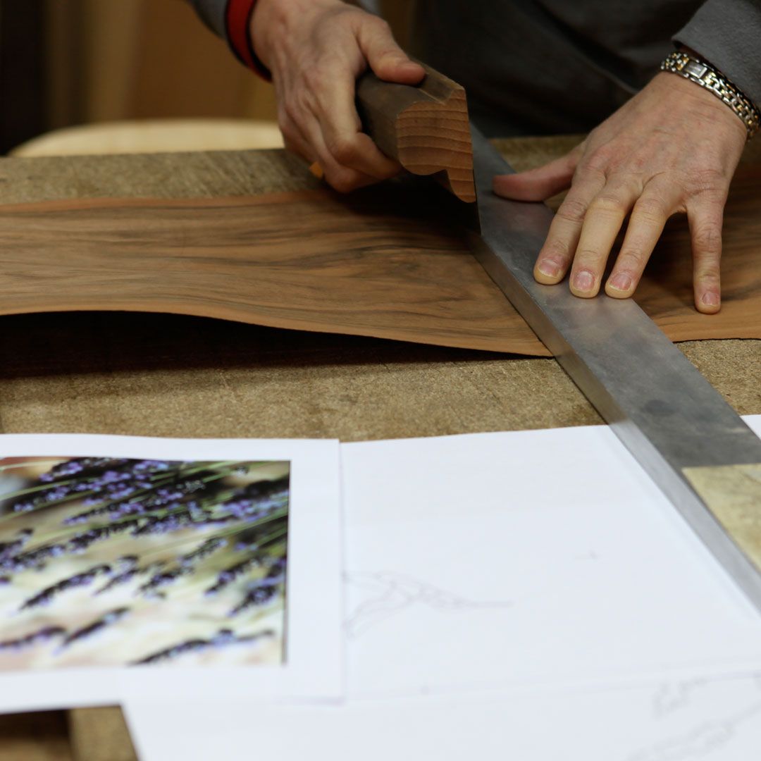 Marqueterie en transparence_Tr1 Débit des bois